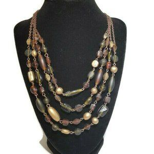 VTG Multi-Strand  Amber wood green Glass necklace